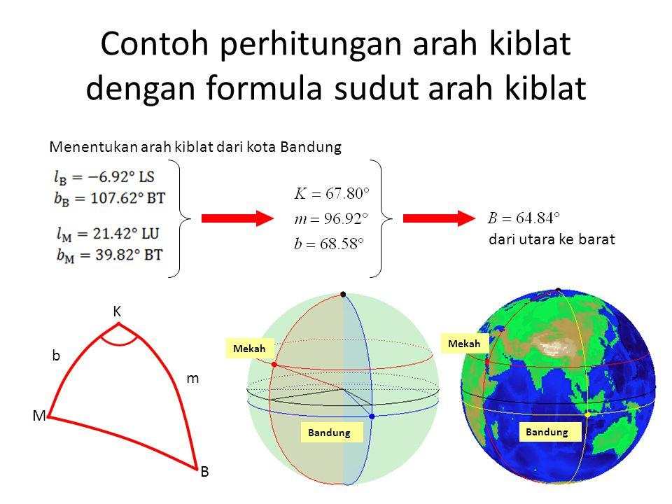 Contoh perhitungan arah kiblat dengan formula sudut arah kiblat