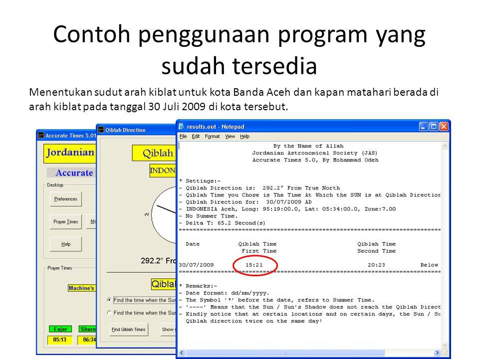 Contoh penggunaan program yang sudah tersedia