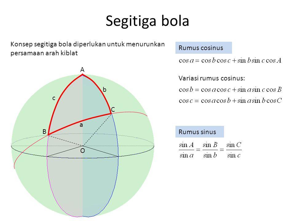 Segitiga bola Konsep segitiga bola diperlukan untuk menurunkan persamaan arah kiblat. Rumus cosinus.