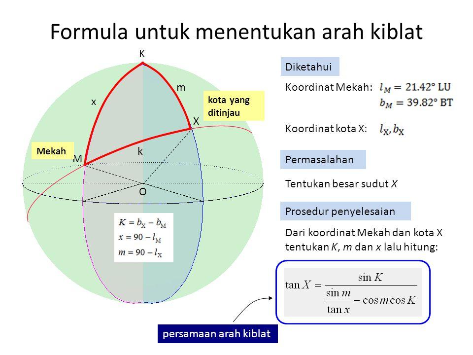Formula untuk menentukan arah kiblat