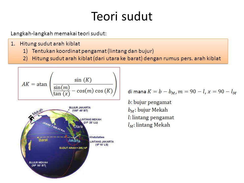 Teori sudut Langkah-langkah memakai teori sudut: