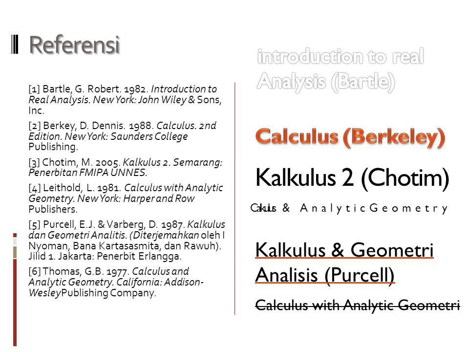 Referensi Kalkulus 2 (Chotim) introduction to real Analysis (Bartle)