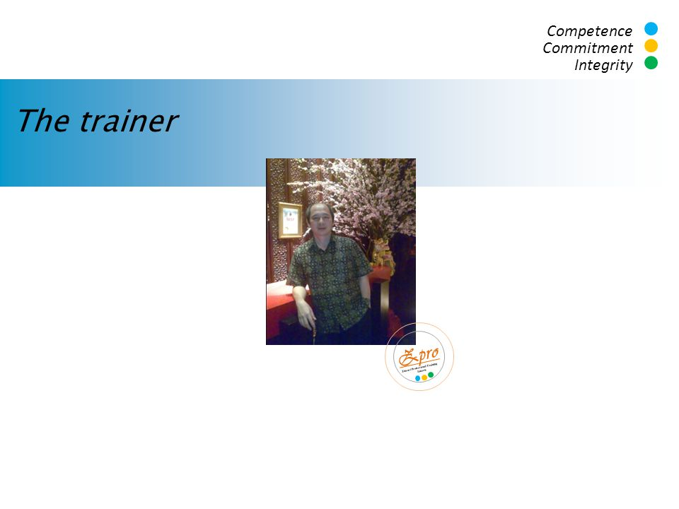 The trainer Zpro Competence Commitment Integrity