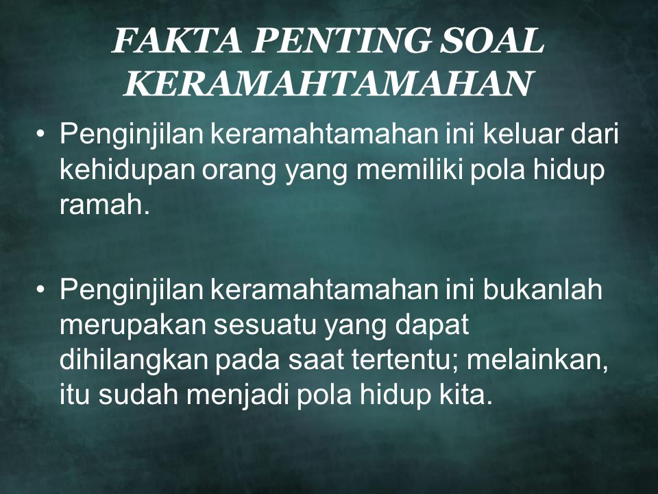 FAKTA PENTING SOAL KERAMAHTAMAHAN