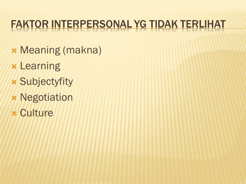 Faktor interpersonal yg tidak terlihat
