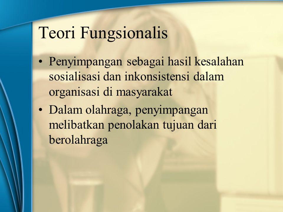 Teori Fungsionalis Penyimpangan sebagai hasil kesalahan sosialisasi dan inkonsistensi dalam organisasi di masyarakat.