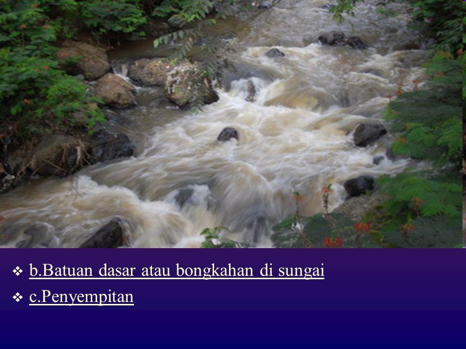 b.Batuan dasar atau bongkahan di sungai