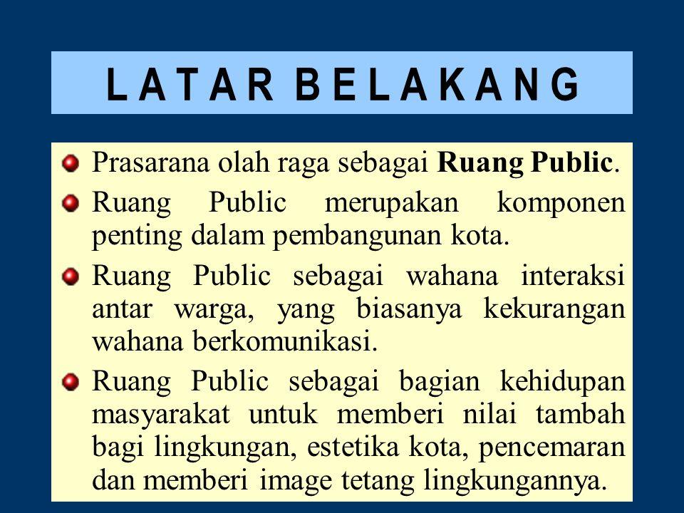 L A T A R B E L A K A N G Prasarana olah raga sebagai Ruang Public.