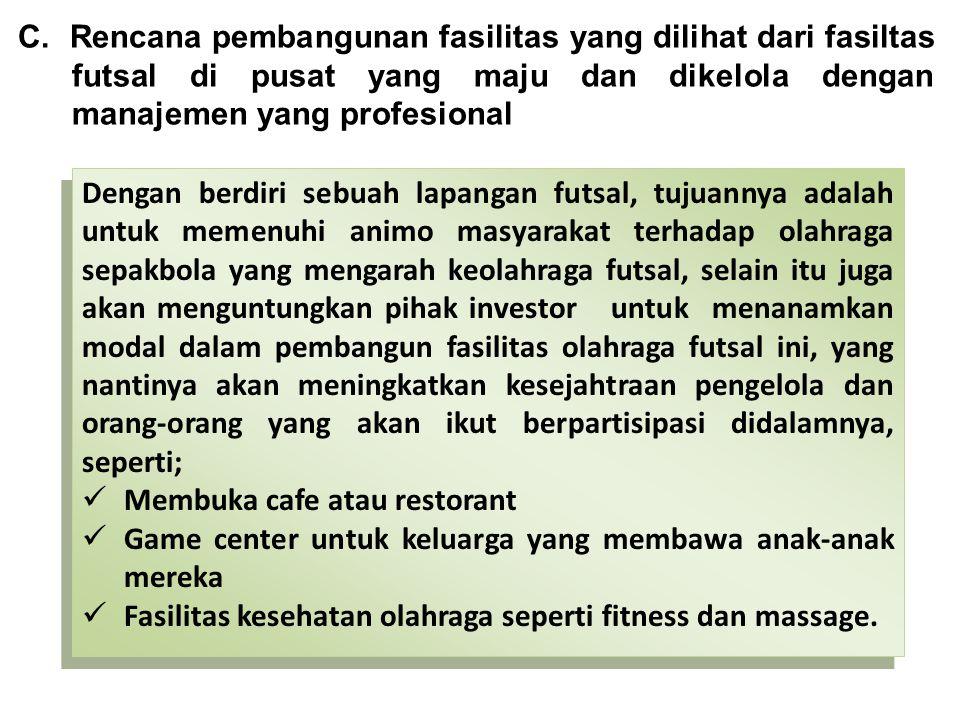 C. Rencana pembangunan fasilitas yang dilihat dari fasiltas futsal di pusat yang maju dan dikelola dengan manajemen yang profesional