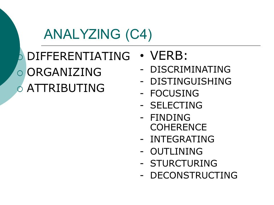ANALYZING (C4) VERB: DIFFERENTIATING ORGANIZING ATTRIBUTING