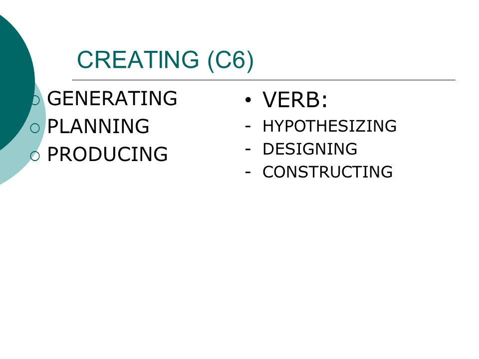CREATING (C6) VERB: GENERATING PLANNING PRODUCING HYPOTHESIZING
