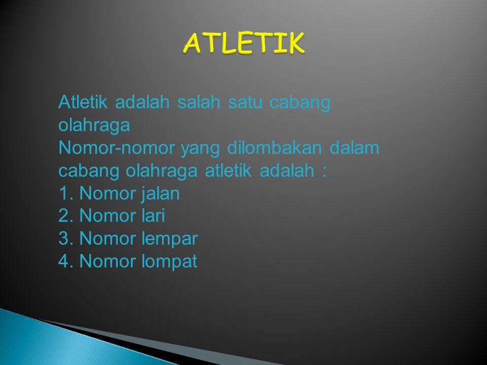 ATLETIK Atletik adalah salah satu cabang olahraga