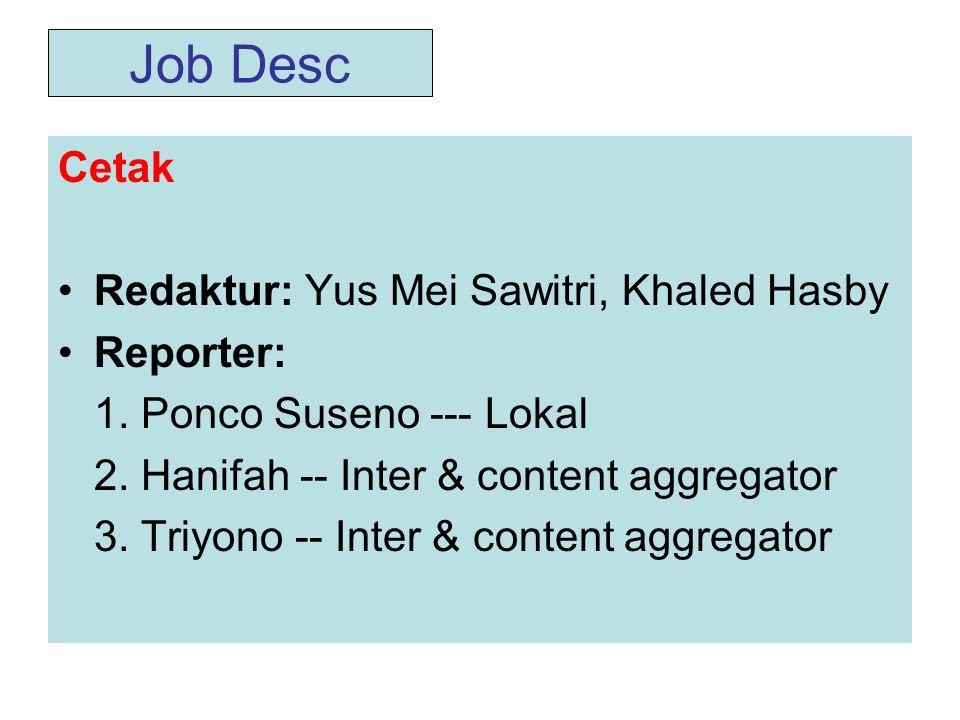 Job Desc Cetak Redaktur: Yus Mei Sawitri, Khaled Hasby Reporter: