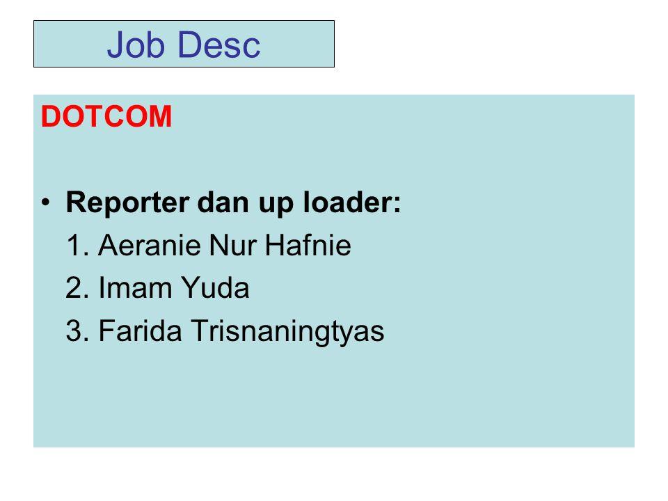 Job Desc DOTCOM Reporter dan up loader: 1. Aeranie Nur Hafnie