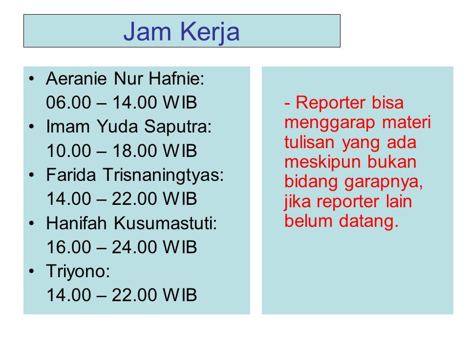 Jam Kerja Aeranie Nur Hafnie: 06.00 – 14.00 WIB Imam Yuda Saputra: