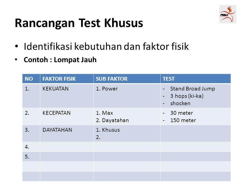 Rancangan Test Khusus Identifikasi kebutuhan dan faktor fisik