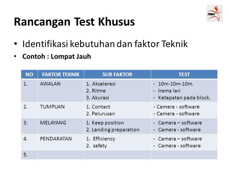 Rancangan Test Khusus Identifikasi kebutuhan dan faktor Teknik