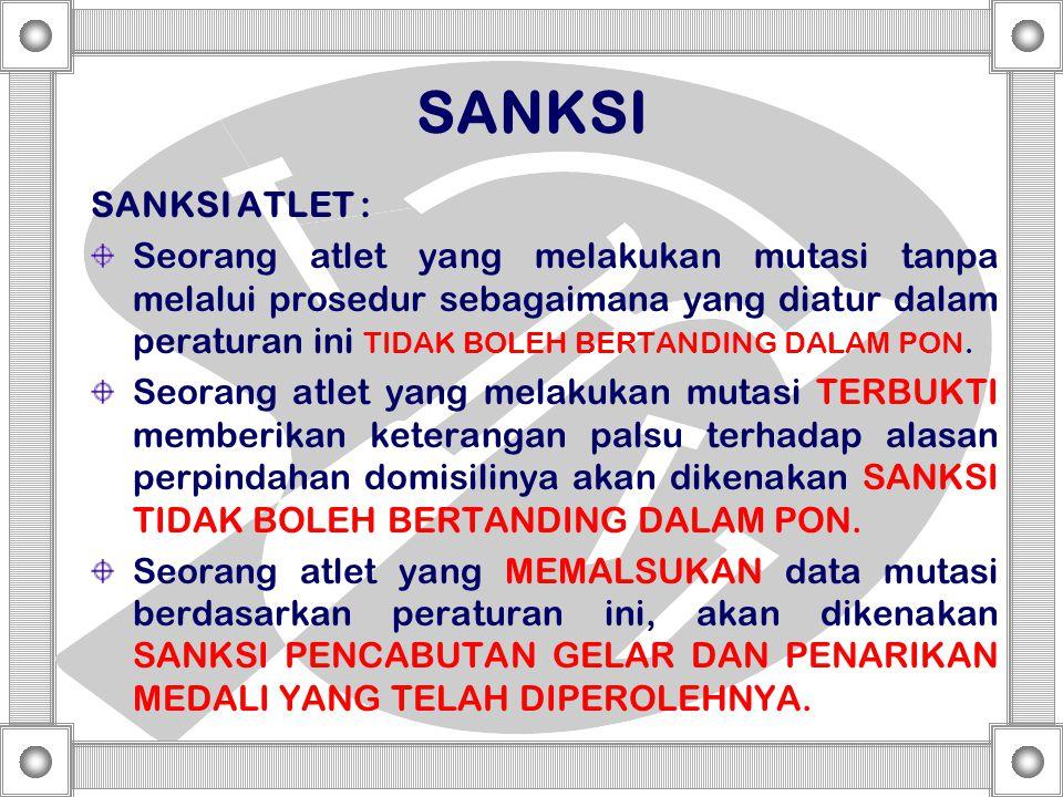 SANKSI SANKSI ATLET :