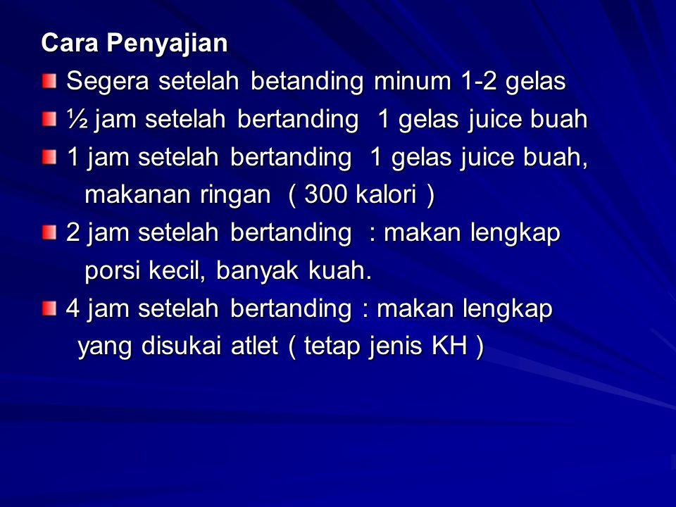 Cara Penyajian Segera setelah betanding minum 1-2 gelas. ½ jam setelah bertanding 1 gelas juice buah.