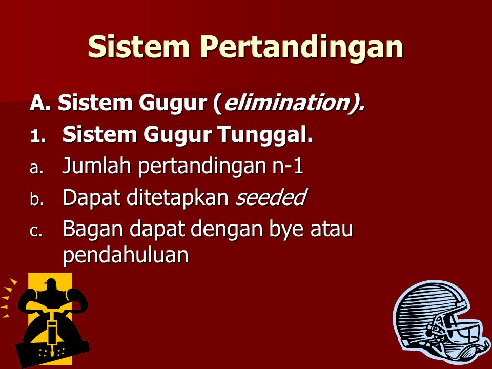 Sistem Pertandingan A. Sistem Gugur (elimination).