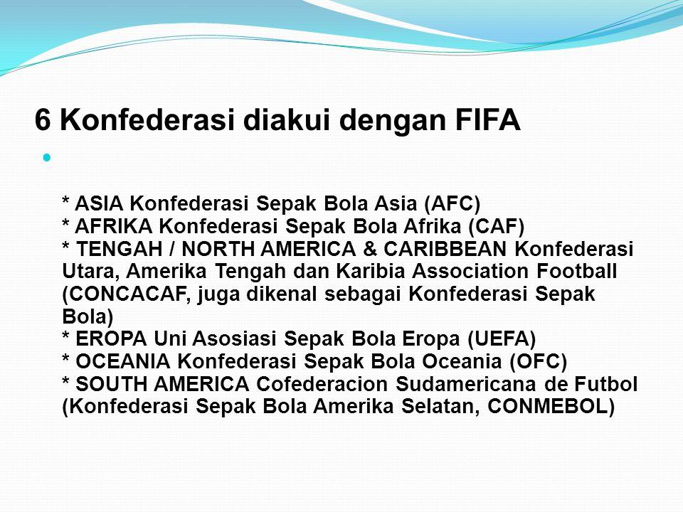 6 Konfederasi diakui dengan FIFA