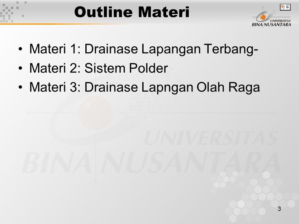 Outline Materi Materi 1: Drainase Lapangan Terbang-