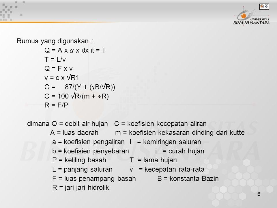 Rumus yang digunakan : Q = A x  x x it = T. T = L/v. Q = F x v. v = c x R1. C = 87/(Y + (B/R))