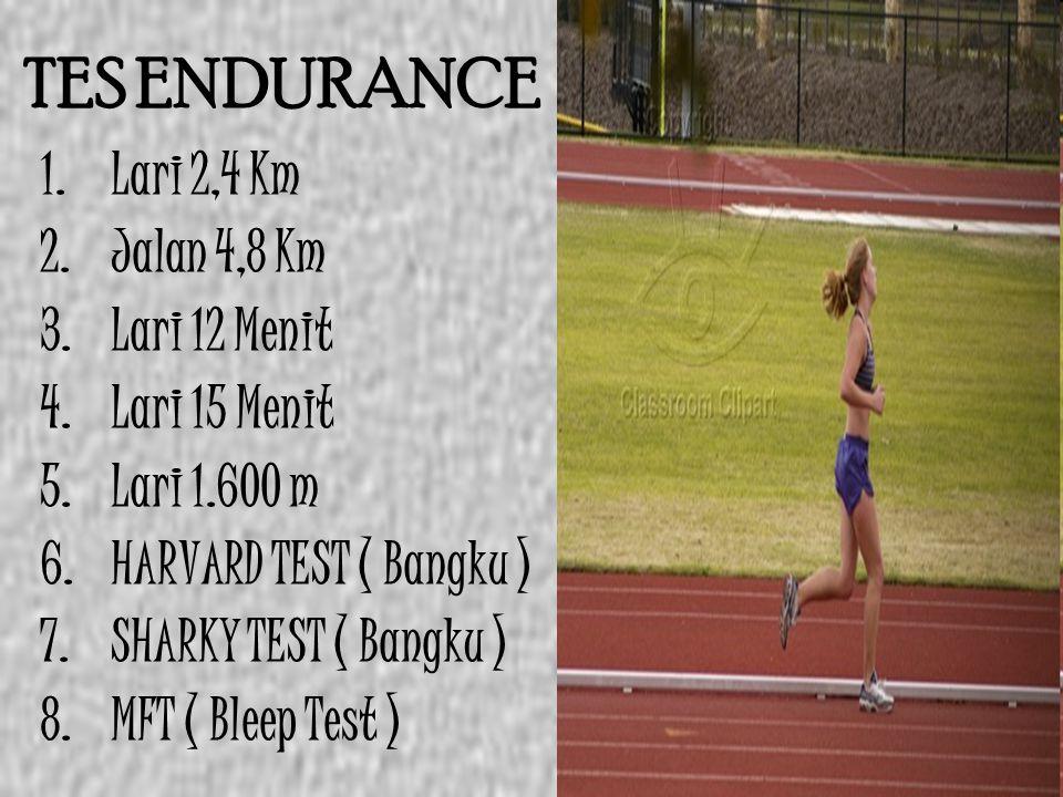 TES ENDURANCE 1. Lari 2,4 Km 2. Jalan 4,8 Km 3. Lari 12 Menit