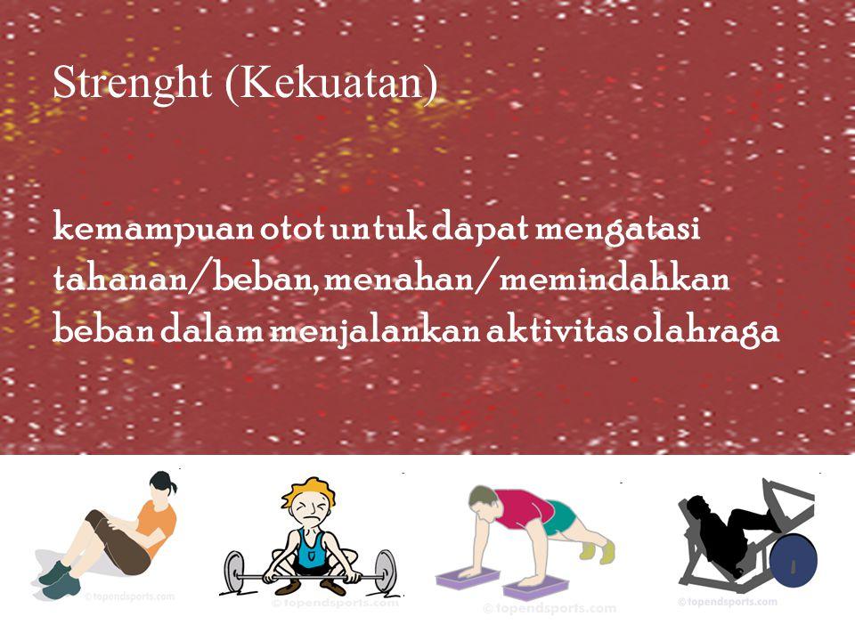 Strenght (Kekuatan) kemampuan otot untuk dapat mengatasi tahanan/beban, menahan/memindahkan beban dalam menjalankan aktivitas olahraga.