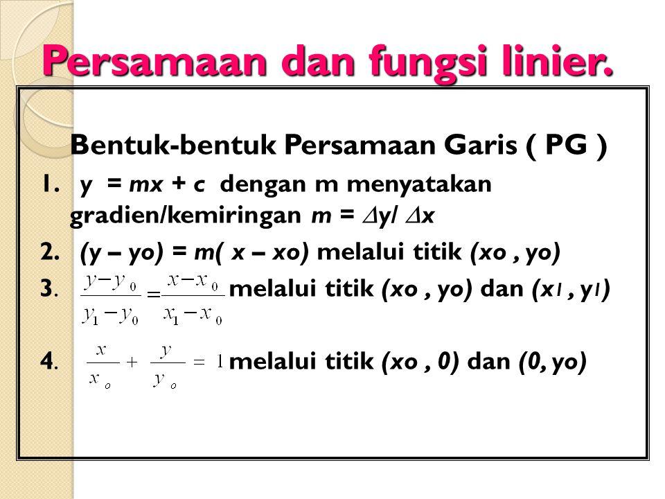 Persamaan dan fungsi linier.