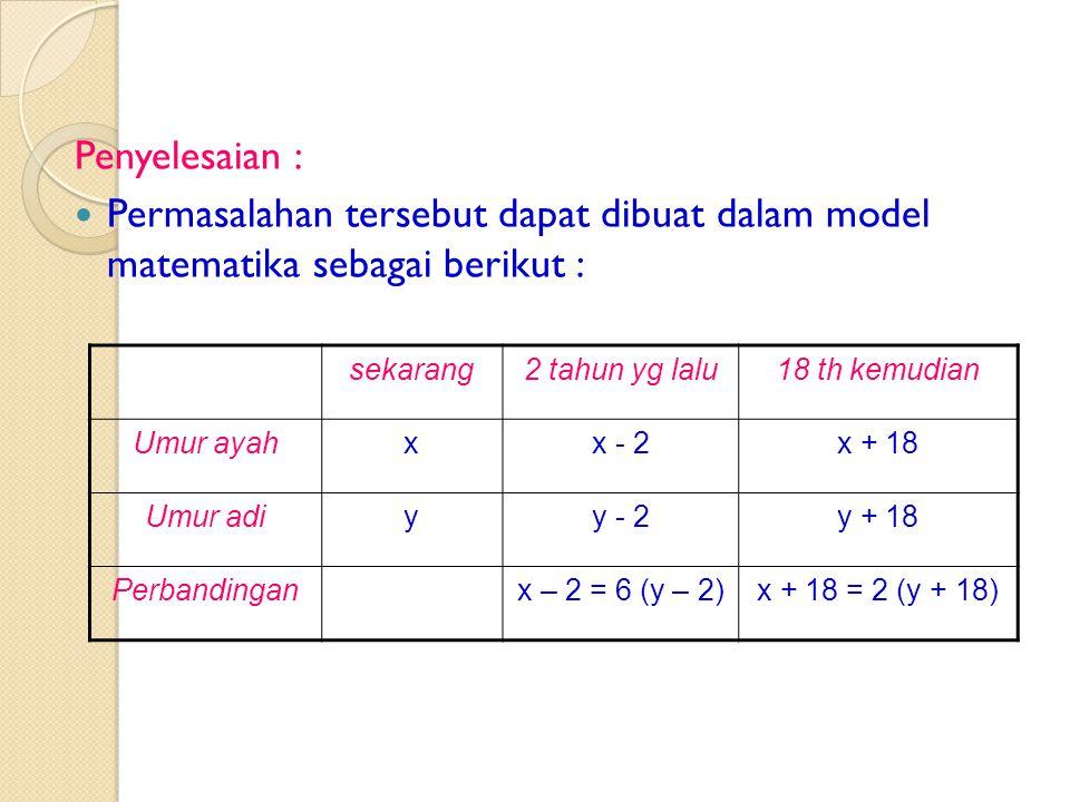 Penyelesaian : Permasalahan tersebut dapat dibuat dalam model matematika sebagai berikut : sekarang.