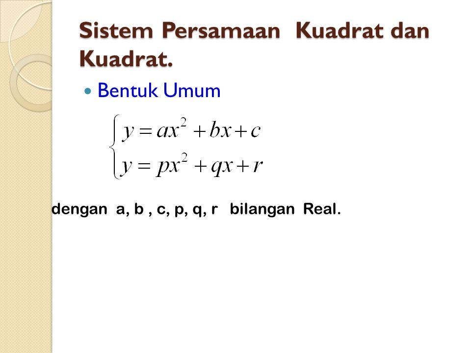 Sistem Persamaan Kuadrat dan Kuadrat.