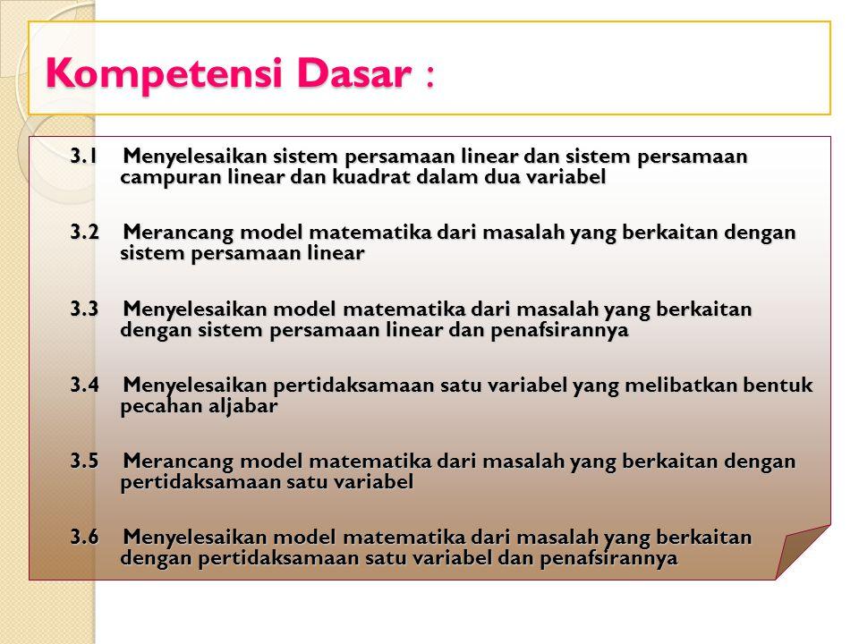 Kompetensi Dasar : 3.1 Menyelesaikan sistem persamaan linear dan sistem persamaan campuran linear dan kuadrat dalam dua variabel.