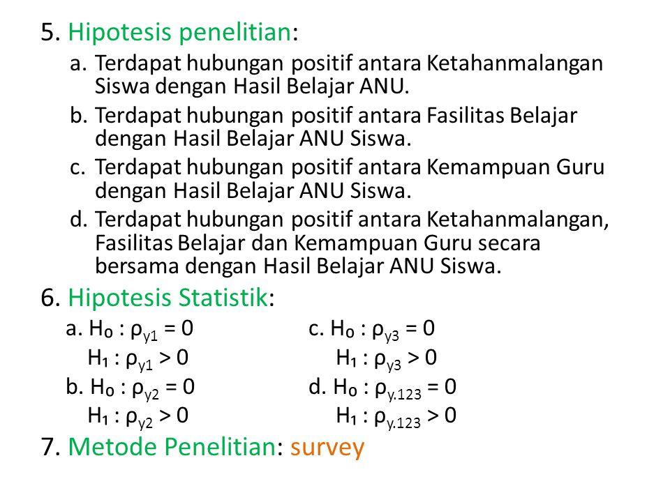 5. Hipotesis penelitian: