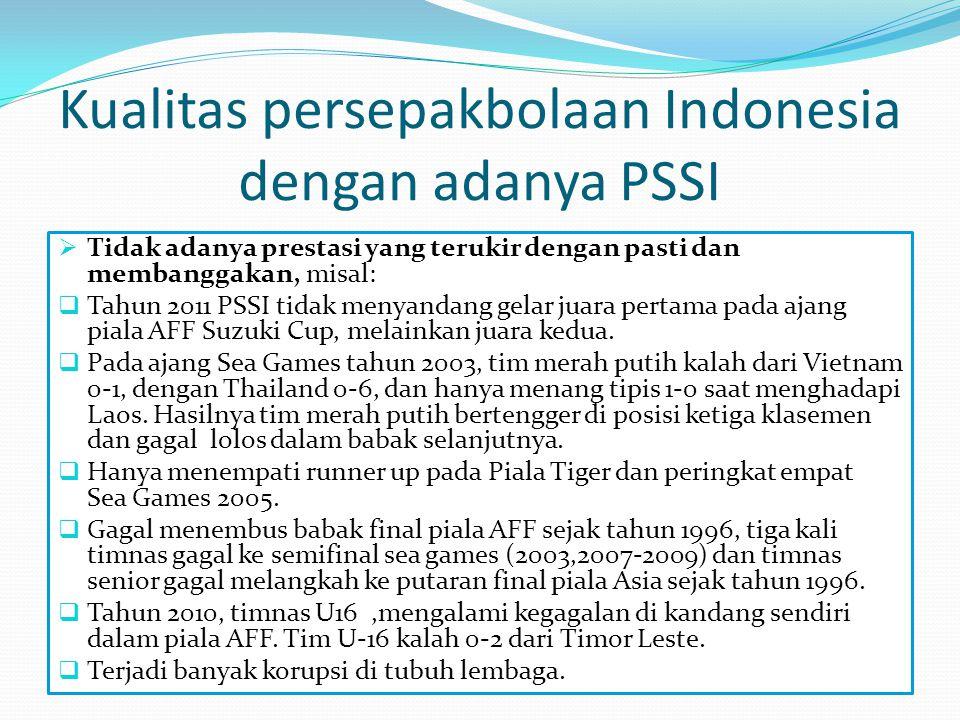 Kualitas persepakbolaan Indonesia dengan adanya PSSI