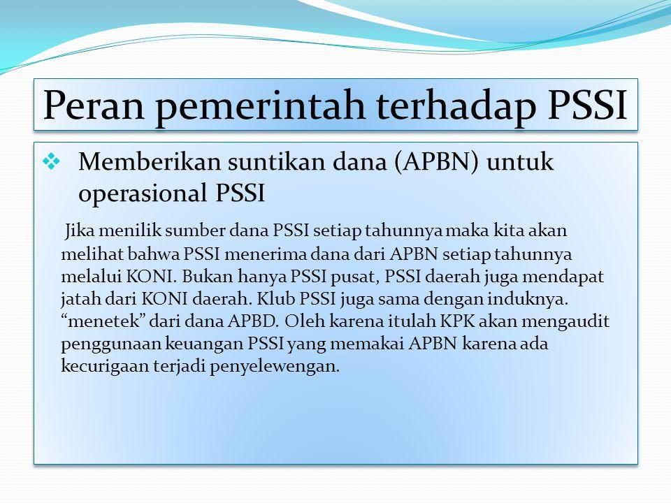 Peran pemerintah terhadap PSSI