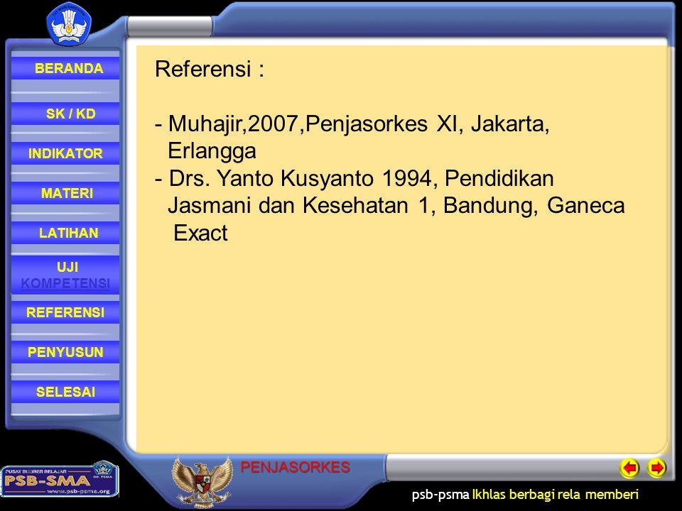 Referensi : - Muhajir,2007,Penjasorkes XI, Jakarta, Erlangga. Drs. Yanto Kusyanto 1994, Pendidikan.