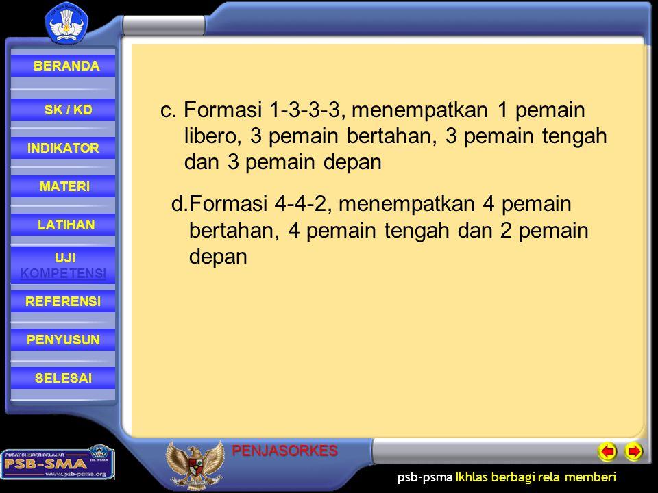 c. Formasi 1-3-3-3, menempatkan 1 pemain