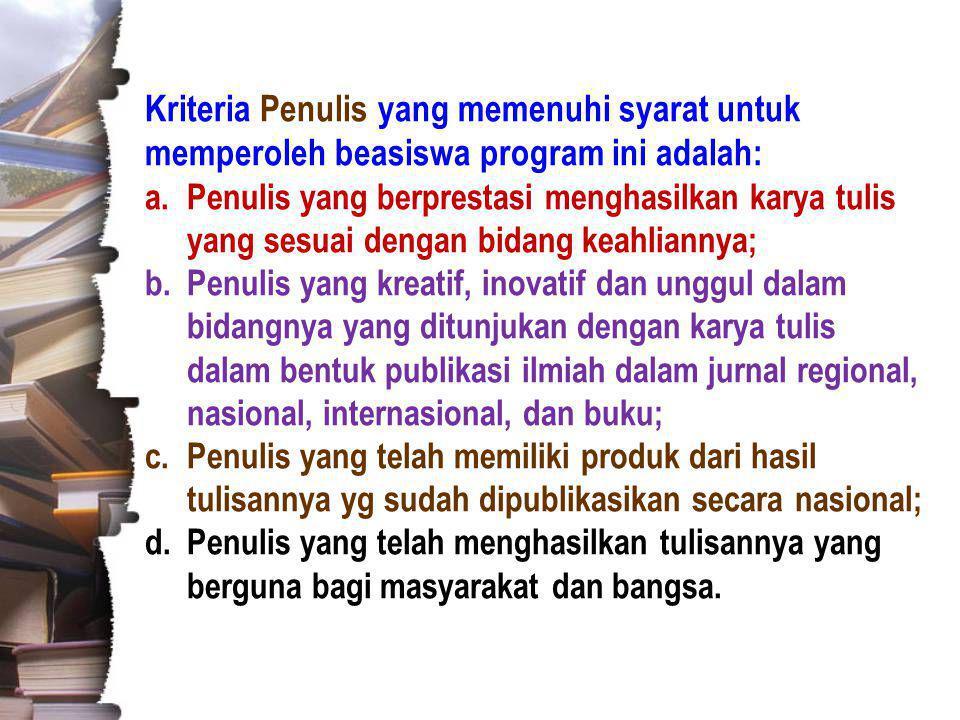 Kriteria Penulis yang memenuhi syarat untuk