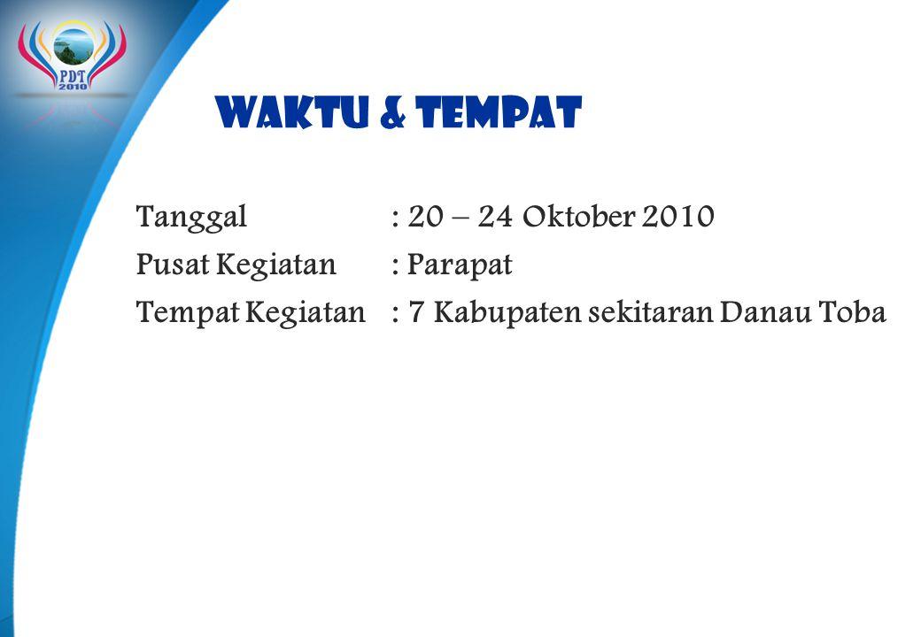 WAKTU & TEMPAT Tanggal : 20 – 24 Oktober 2010 Pusat Kegiatan : Parapat