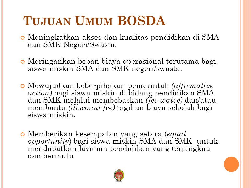 Tujuan Umum BOSDA Meningkatkan akses dan kualitas pendidikan di SMA dan SMK Negeri/Swasta.