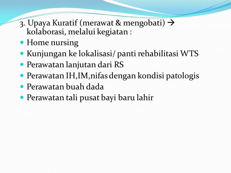 3. Upaya Kuratif (merawat & mengobati)  kolaborasi, melalui kegiatan :
