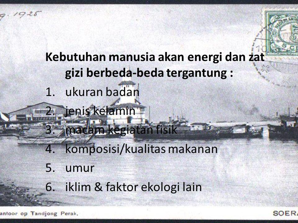 Kebutuhan manusia akan energi dan zat gizi berbeda-beda tergantung :