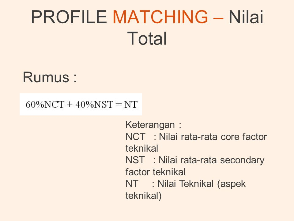 PROFILE MATCHING – Nilai Total