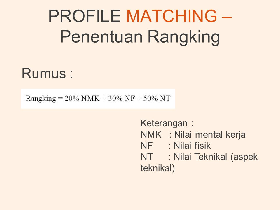 PROFILE MATCHING – Penentuan Rangking