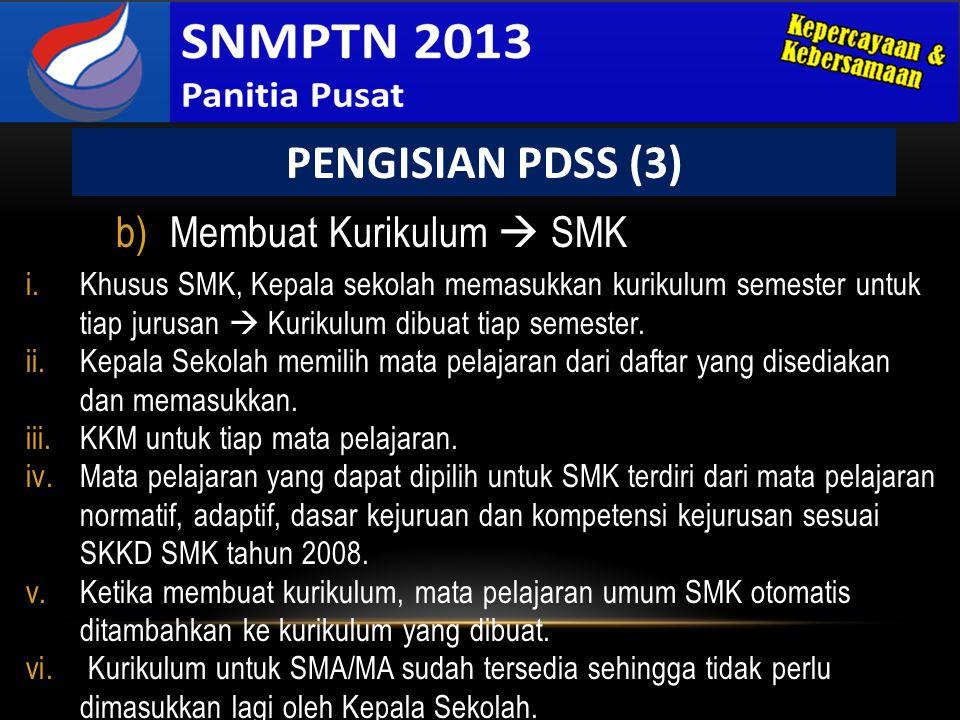 PENGISIAN PDSS (3) Membuat Kurikulum  SMK