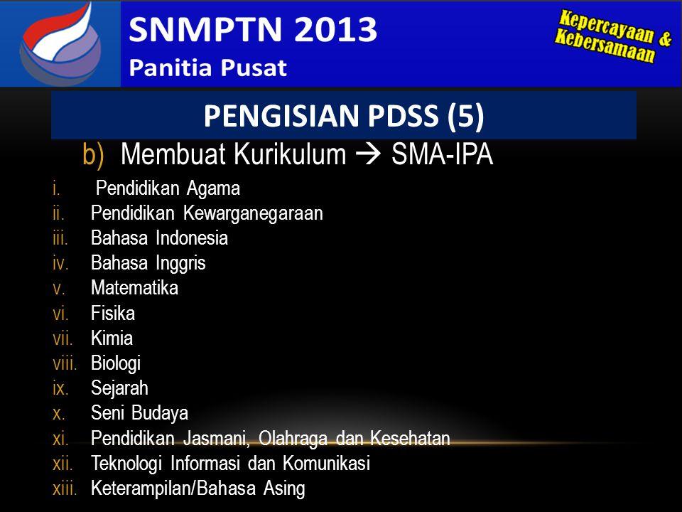 PENGISIAN PDSS (5) Membuat Kurikulum  SMA-IPA Pendidikan Agama