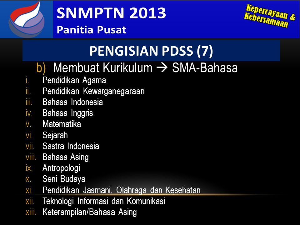 PENGISIAN PDSS (7) Membuat Kurikulum  SMA-Bahasa Pendidikan Agama