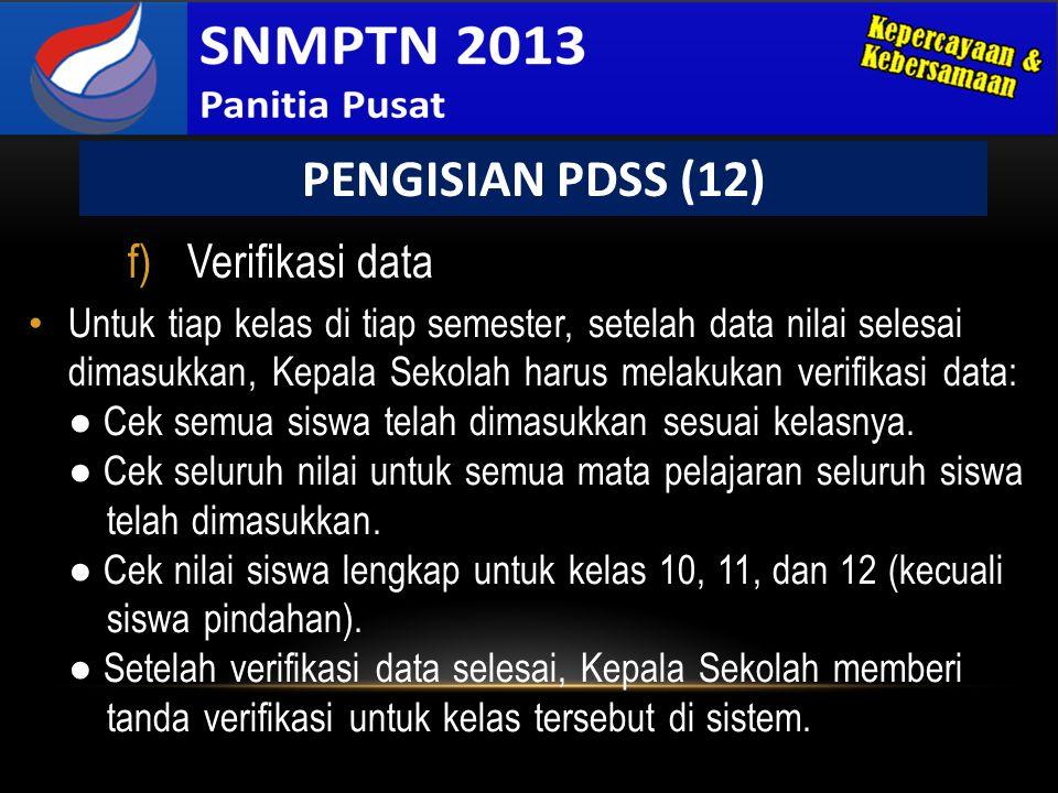 PENGISIAN PDSS (12) Verifikasi data