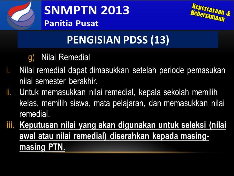 PENGISIAN PDSS (13) Nilai Remedial